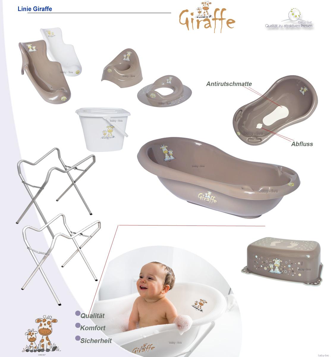 giraffe set babywanne badewanne badesitz abfluss st psel mit ohne st nder stw ebay. Black Bedroom Furniture Sets. Home Design Ideas