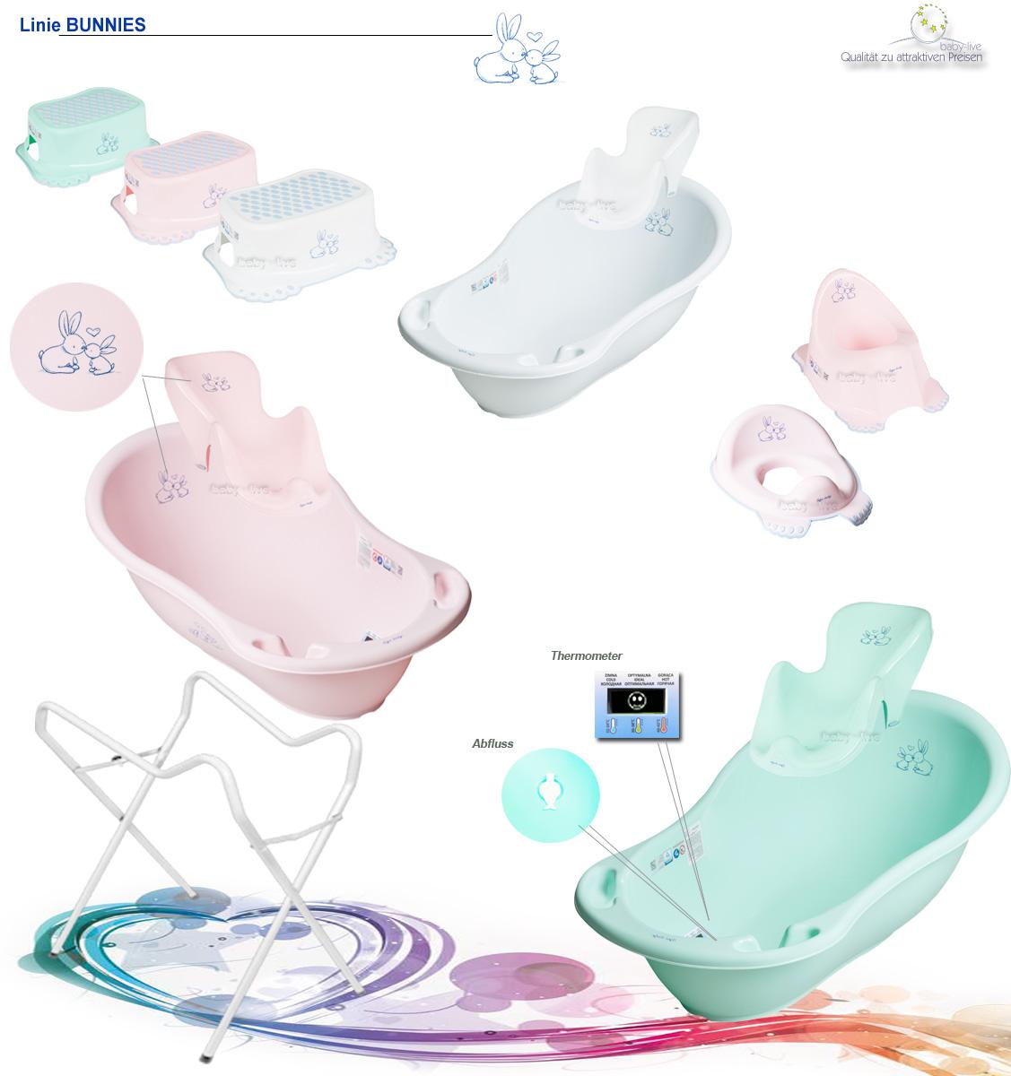 Baby Badewanne mit Ablauf und Thermometer Tiere Bunnies Thema